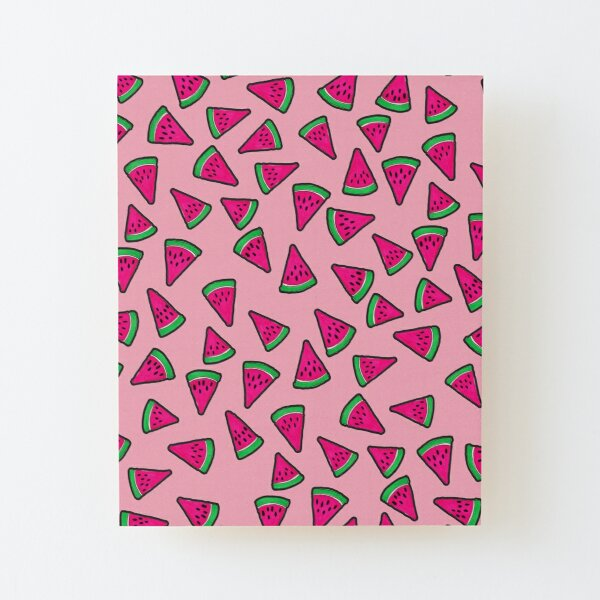 Watermelon Slices on Pink Wood Mounted Print