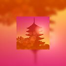 Gorgeous Pagoda Silhouette Sunset Light Leak Gradation by Beverly Claire Kaiya