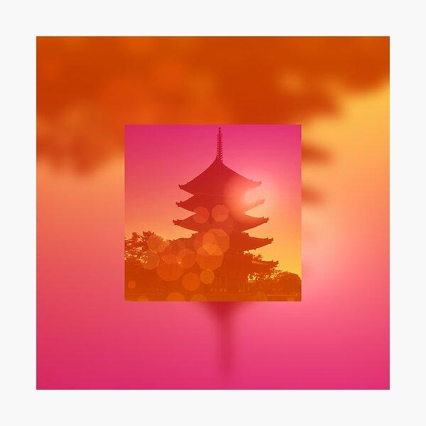 Gorgeous Pagoda Silhouette Sunset Light Leak Gradation Photographic Print