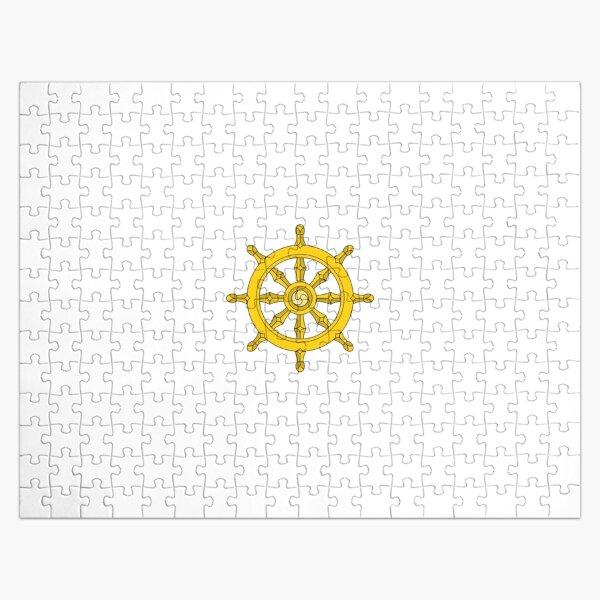 Dharmachakra, Wheel of Dharma. #Dharmachakra #WheelofDharma #Wheel #Dharma #znamenski #helm #illustration #rudder #captain #symbol #design #vector #art #decoration #sign #anchor #antique #colorimage  Jigsaw Puzzle