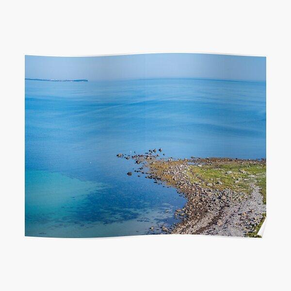 Coastlines frame the blue sea Poster