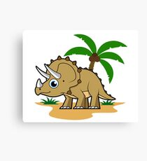 Cute illustration of a Triceratops in a tropical climate. Canvas Print