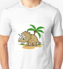Cute illustration of a Triceratops in a tropical climate. T-Shirt