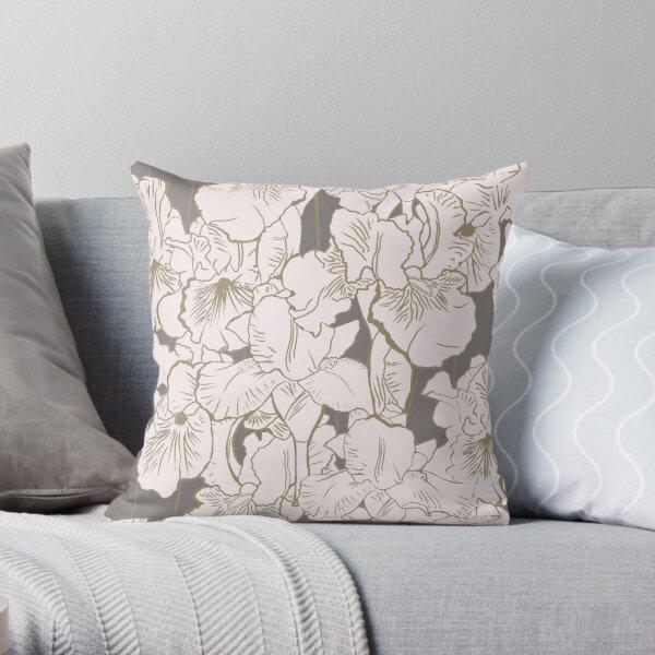 Iris in cream and Gray Throw Pillow
