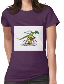 Illustration of an Anabisetia dinosaur riding a bicycle. Womens Fitted T-Shirt