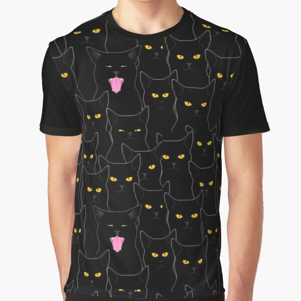 Suspicious Cats pattern Graphic T-Shirt