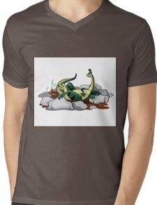 Illustration of a Hadrosaurus relaxing in a jacuzzi. Mens V-Neck T-Shirt