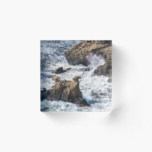 The Camel Cliffs during storm and high waves Acrylic Block