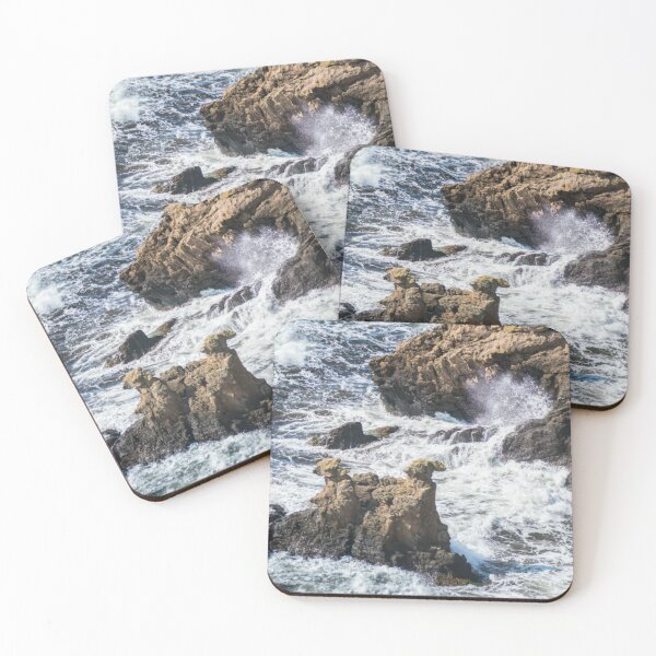The Camel Cliffs during storm and high waves Coasters (Set of 4)