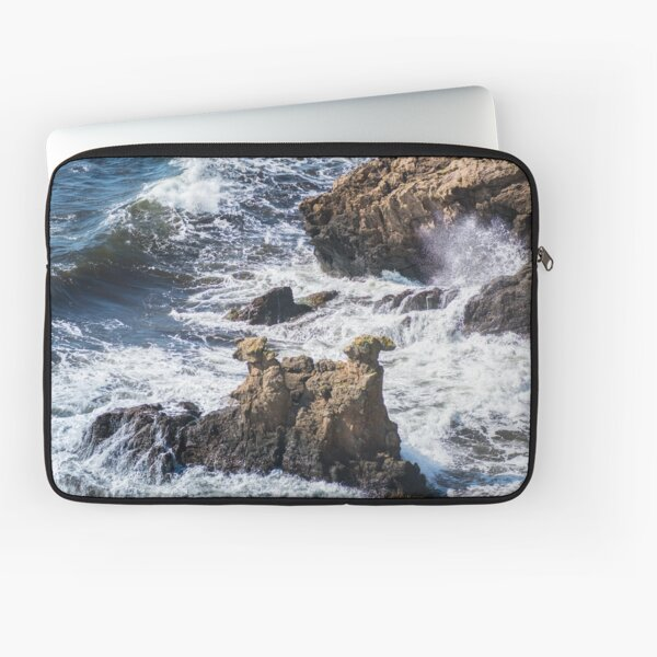 The Camel Cliffs during storm and high waves Laptop Sleeve