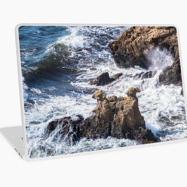 The Camel Cliffs during storm and high waves Laptop Skin