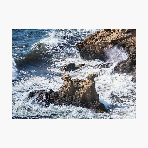 The Camel Cliffs during storm and high waves Photographic Print