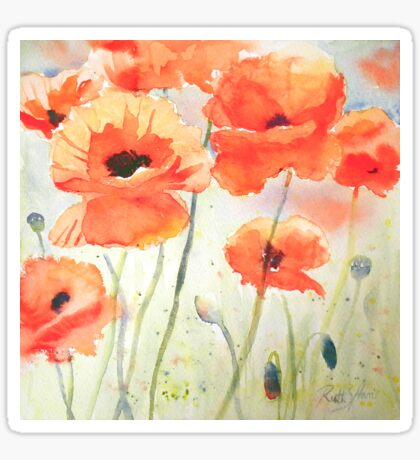 Poppy Meadow Sticker