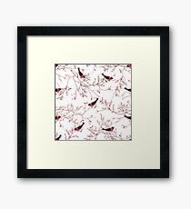 Bullfinches and bare tree branches seamless vector print Framed Print