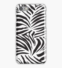 Black and white striped zebra animal seamless vector print iPhone Case/Skin