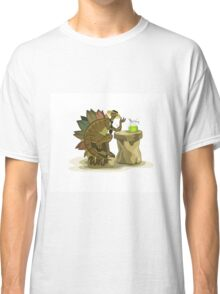 Illustration of a Stegosaurus drinking a beverage. Classic T-Shirt
