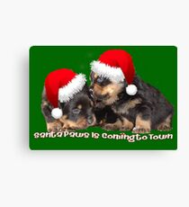 Santa Paws Is Coming To Town Christmas Greeting Canvas Print