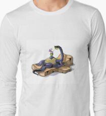 Illustration of a Brontosaurus sunbathing. Long Sleeve T-Shirt