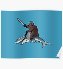 Bear riding a shark Poster