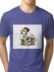 Illustration of a raptor poet thinking. Tri-blend T-Shirt