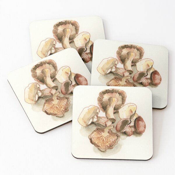 Mushrooms Coasters (Set of 4)