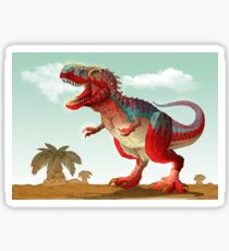 Colorful illustration of an angry Tyrannosaurus Rex. Sticker