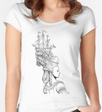Girl With Ship Women's Fitted Scoop T-Shirt