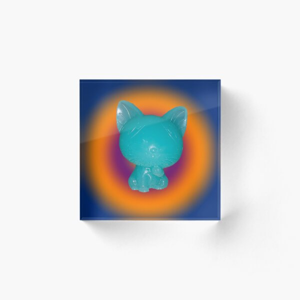 Blue Resin Kitty with circle background Acrylic Block
