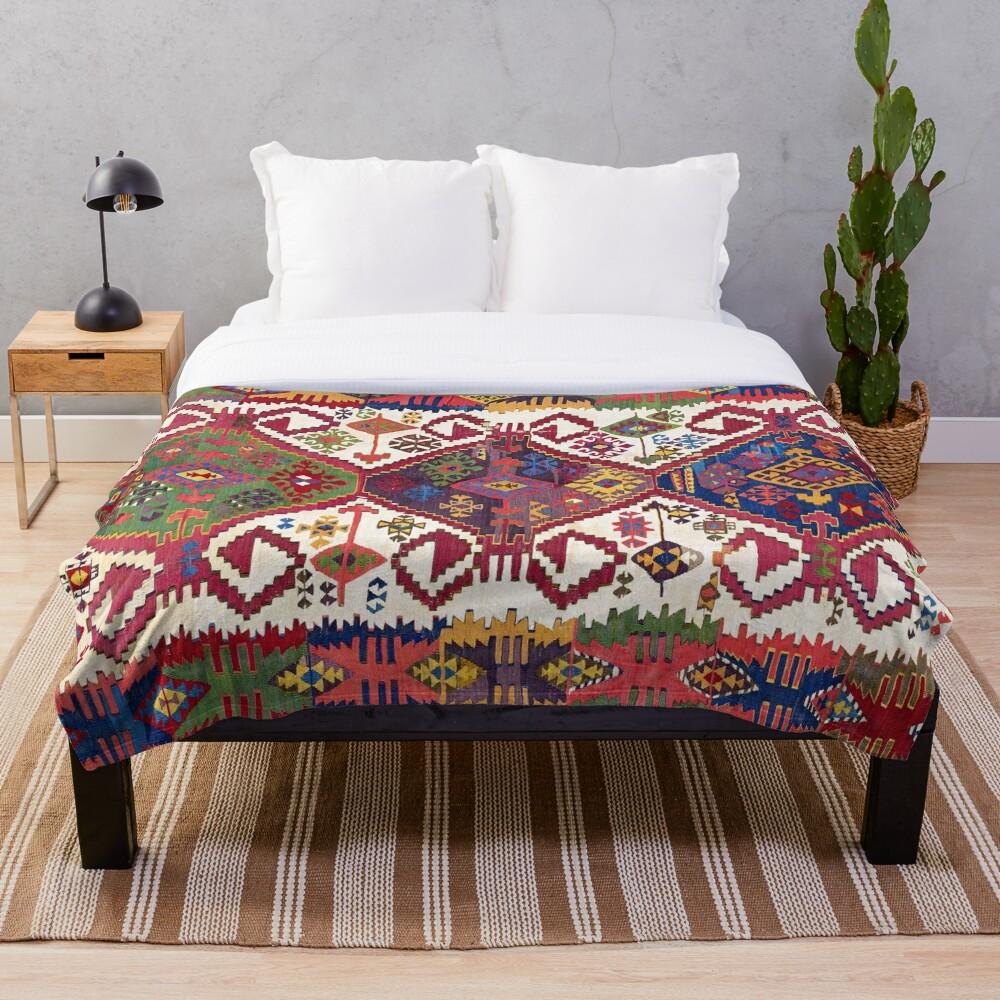 Adana Kilim South East Anatolia Antique Tribal Rug  Print Throw Blanket