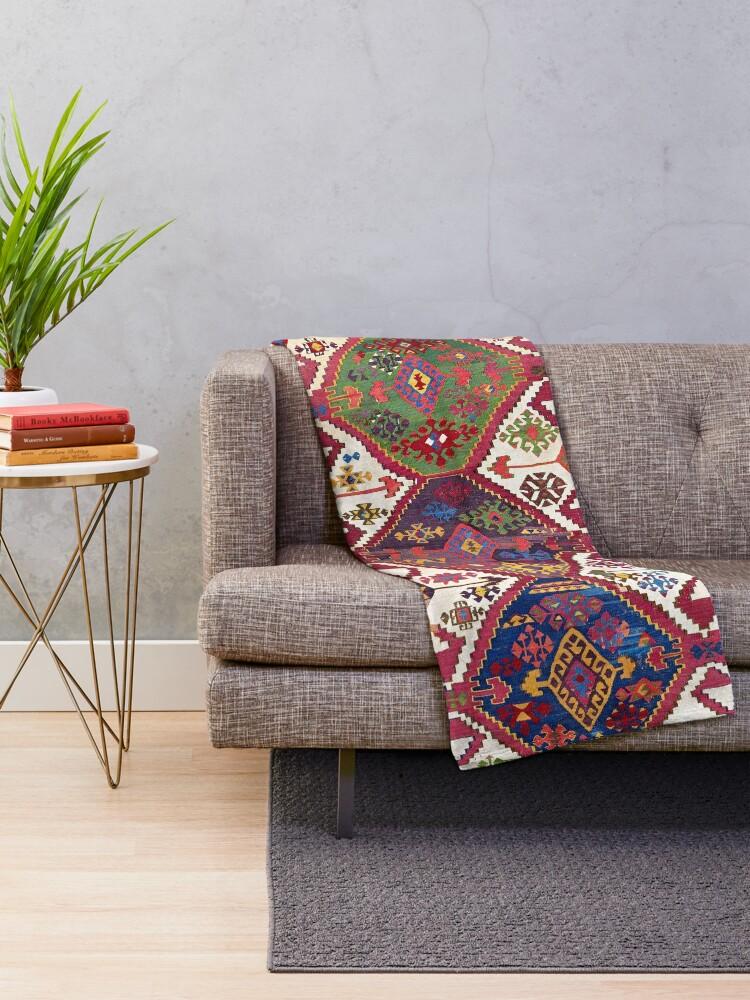 Alternate view of Adana Kilim South East Anatolia Antique Tribal Rug  Print Throw Blanket