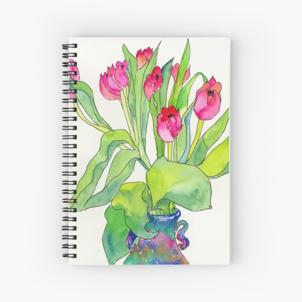 Tulips in a pottery vase Spiral Notebook