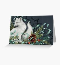 Arctic Fox Holiday Portrait Greeting Card