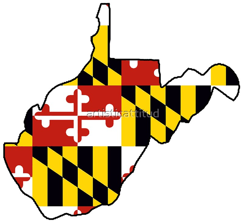 Maryland flag West Virginia outline Stickers by artisticattitud