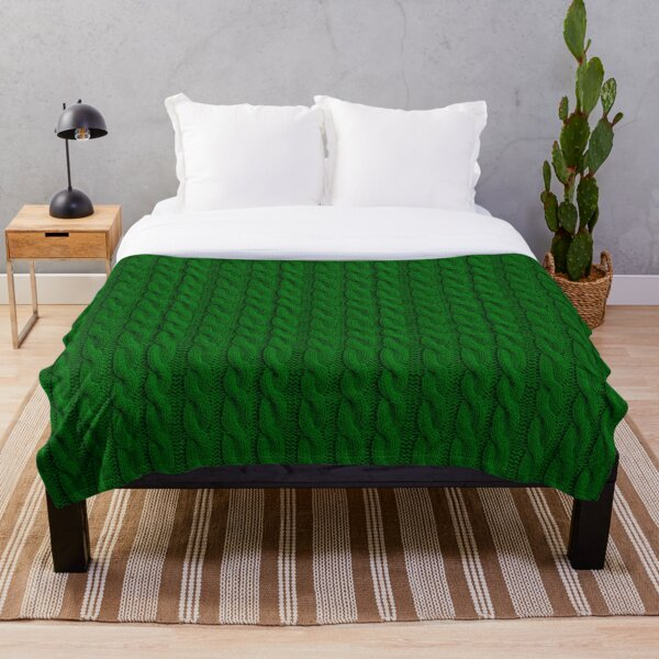 Green Cable Knit Sweater Knitting design Throw Blanket