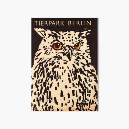 Tierpark Berlin - owl - Vintage zoo poster Art Board Print