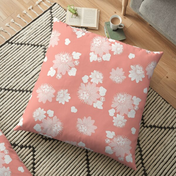 Vector coral pink seamless pattern with leaves and wild flower.  Floor Pillow