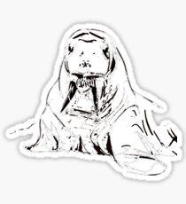Playful Cute Adorable Fun Pencil Sketched Walrus Sticker