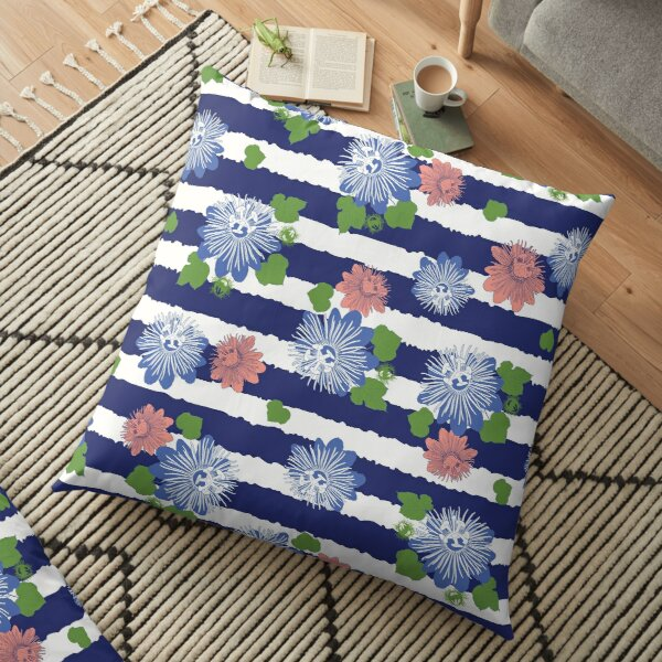 Vector indigo blue stripes seamless pattern with leaves and wild flower with stripes. Floor Pillow