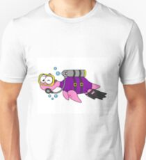 Illustration of a Loch Ness Monster scuba diver. T-Shirt