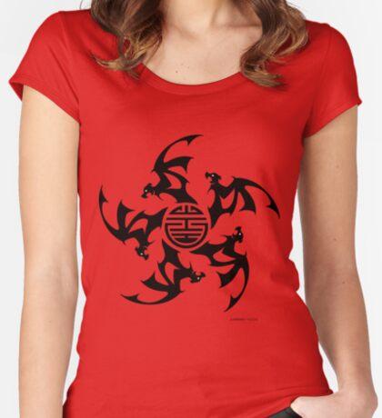 Wu Fu Bats (Five Lucky Bats) Women's Fitted Scoop T-Shirt
