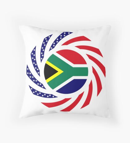 South African American Multinational Patriot Flag Series Throw Pillow