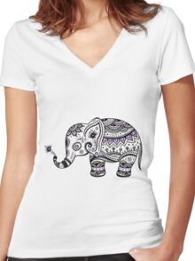 Black With Purple Diamonds Floral Elephant Women's Fitted V-Neck T-Shirt