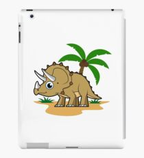 Cute illustration of a Triceratops in a tropical climate. iPad Case/Skin