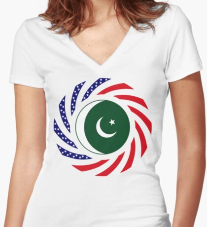 Pakistani American Multinational Patriot Flag Series Fitted V-Neck T-Shirt