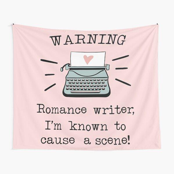 Warning Romance Writer Typewriter Drawing  Tapestry