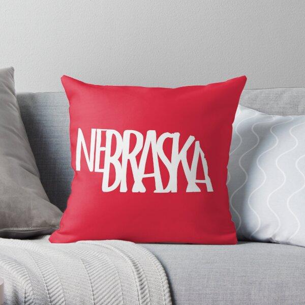 Nebraska state silhouette design - NE gifts - Nebraska text in white - Husker face mask Throw Pillow