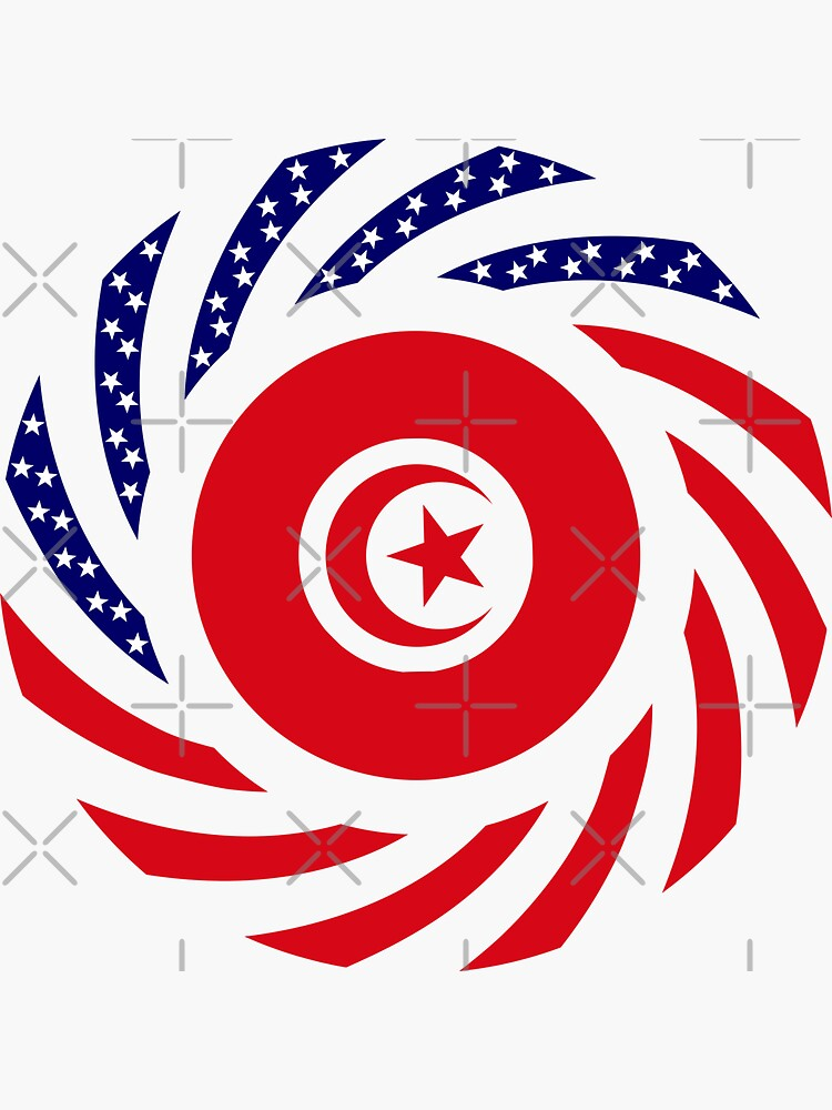 Tunisian American Multinational Patriot Flag Series by carbonfibreme