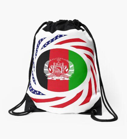 Afghani American Multinational Patriot Flag Series Drawstring Bag
