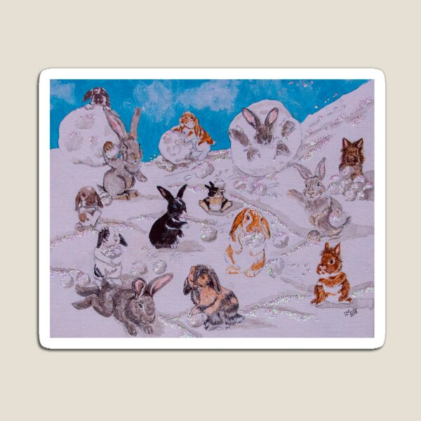Bunny Snowball Fight Magnet