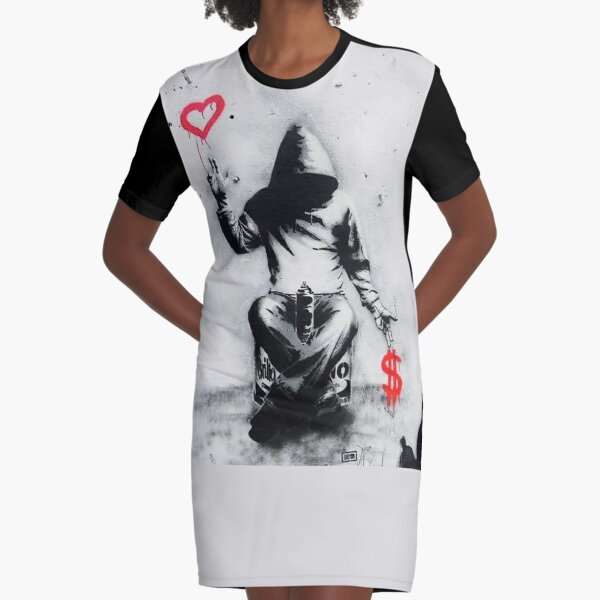 Banksy Love Over Money Iconic Street Art Graphic T-Shirt Dress